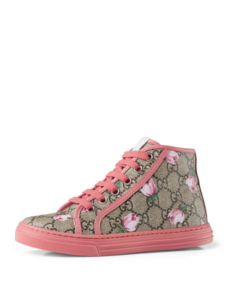 Gucci California GG Supreme Printed High-Top Sneaker, Pink ...
