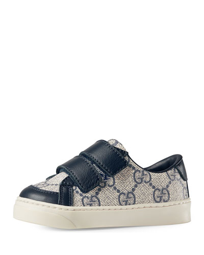 Brooklyn Guccissima Grip-Strap Sneaker, Navy/Light Brown, Toddler