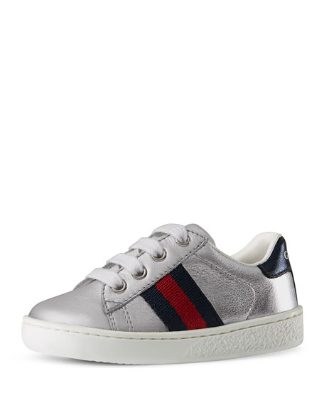 Gucci New Ace Leather Tennis Shoe, Silver, Toddler