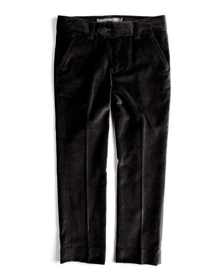 Velvet Tuxedo Pants, Black, Size 2T-14