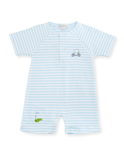 Mini Golf Striped Pima Shortall, Light Blue, Size 3-24 Months