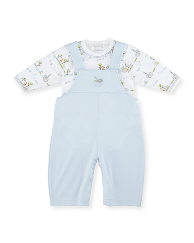 Noah's Ark Pima Overall Set, Light Blue, Size 3-18 Months