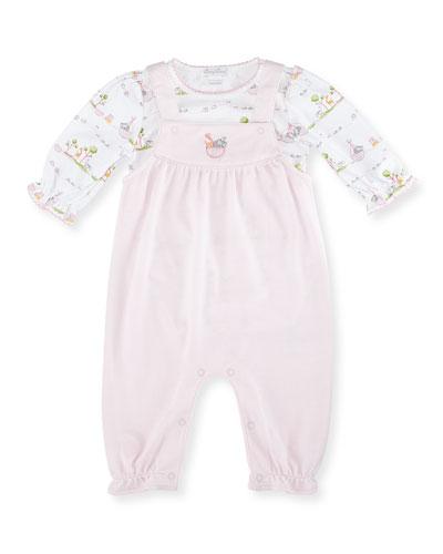 Noah's Ark Pima Overall Set, Pink, Size 3-18 Months