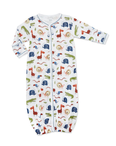 Jungle Rumble Convertible Pima Sleep Gown, White/Navy, Size Newborn-Small