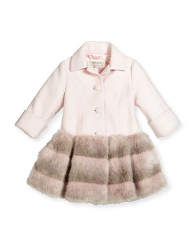Faux-Fur-Trim Button-Front Peacoat, Light Pink, Size 2-6