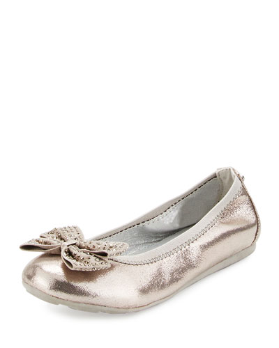 Fannie Jeweled-Bow Faux-Leather Ballet Flat, Pewter, Youth