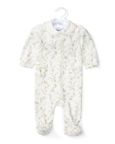 Footed Floral Pima Coverall, Cream/Purple, Size Newborn-9 Months