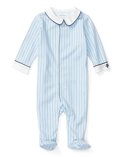 Striped Footed Pima Coverall, Blue/Navy, Size Newborn-9 Months