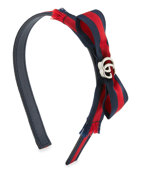 Gucci Leather Bow Headband, Navy/Red