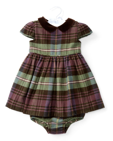 Ralph Lauren Cap-Sleeve Plaid Dress w/ Bloomers, Blue/Green/Red,