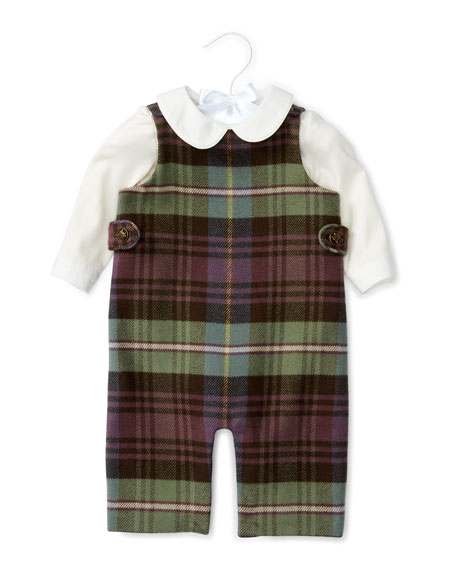 Ralph Lauren Plaid Cotton-Blend Overalls w/ Poplin Shirt,