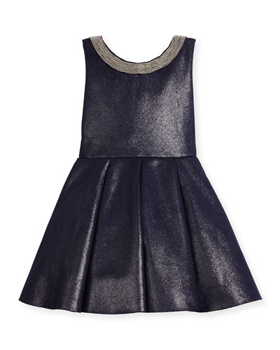 Sleeveless Pleated Metallic Ponte Dress, Twilight Navy, Size 7-16