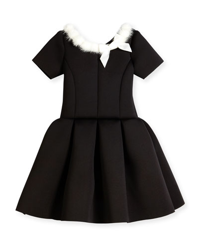 Short-Sleeve Pleated Fit-and-Flare Scuba Dress, Black, Size 7-16
