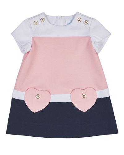 Short-Sleeve Stretch Crepe Colorblock Dress, Pink/Navy, Size 2-6