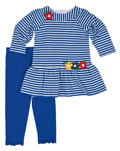 Long-Sleeve Striped Dress w/ Leggings, Royal/White, Size 6-18 Months