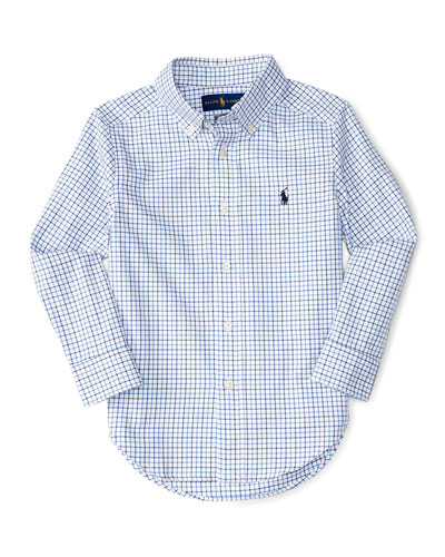 Check Poplin Dress Shirt, Size 2-4