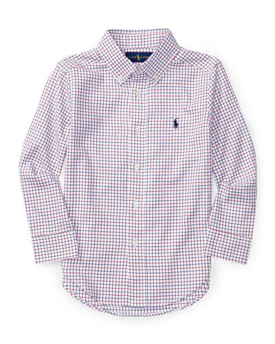 Check Poplin Dress Shirt, Size 4-7