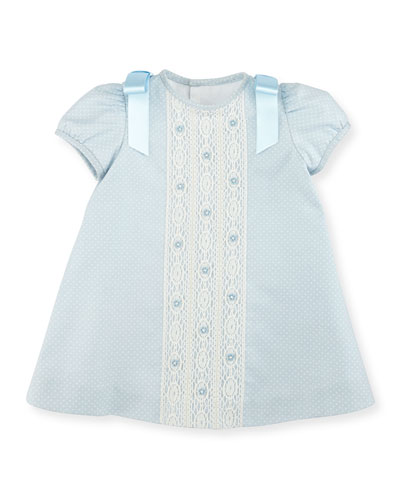 Cap-Sleeve Polka-Dot Twill Dress, Light Blue, Size 3-18 Months