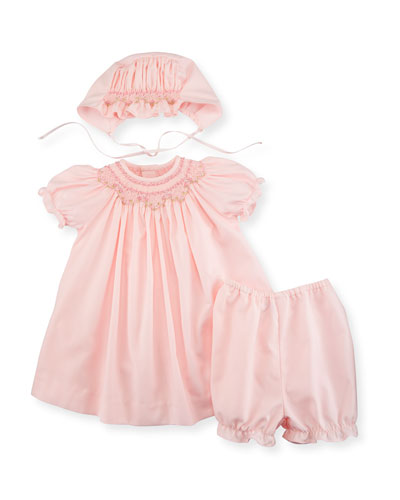 Smocked Bishop Dress Set, Pink, Size 3-24 Months