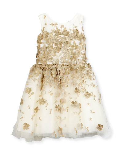 Sleeveless Metallic Leaf Party Dress, Gold, Size 7-16