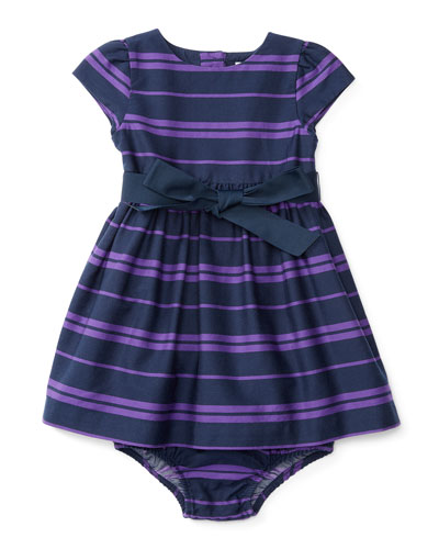 Striped Fit-and-Flare Dress w/ Bloomers, Blue, Size 9-24 Months