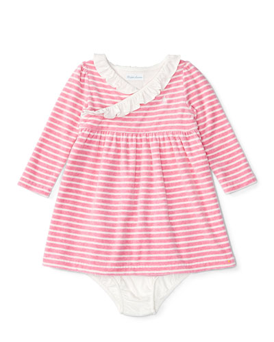 Long-Sleeve Striped Velour Dress w/ Bloomers, Cream/Pink, Size 9-24 Months