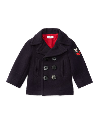 Melton Double-Breasted Naval Peacoat, Blue, Size 9-24 Months