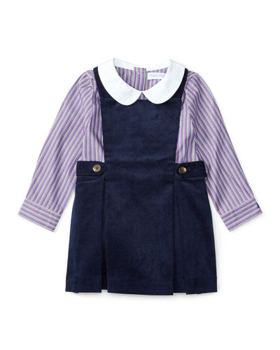 Corduroy Jumper w/ Striped Blouse, Navy, Size 9-24 Months