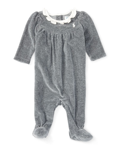 Heathered Velour Footed Coverall, Gray, Size 3-9 Months