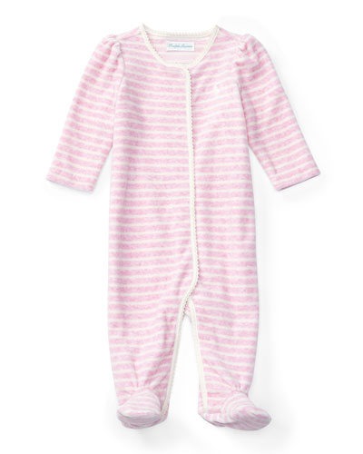 Striped Velour Footie Pajamas, Pink, Size 3-9 Months