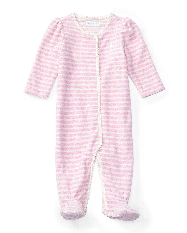 ba2276ee3 Ralph Lauren Striped Velour Footie Pajamas, Pink, Size 3-9 Months ...