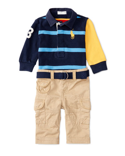 Cotton Rugby Jersey w/ Cargo Pants, Red/Blue, Size 9-24 Months