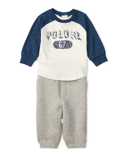 Graphic Baseball Tee w/ Sweatpants, Cream, Size 9-24 Months