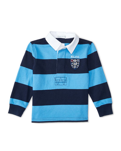 Striped Rugby Jersey, Blue, Size 9-24 Months