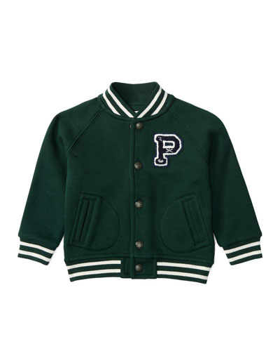 Fleece Baseball Jacket, Green, Size 9-24 Months