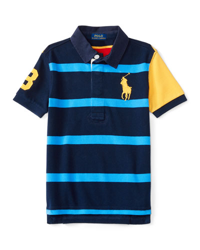 Short-Sleeve Striped Mesh Rugby Shirt, Red/Blue, Size 2-7