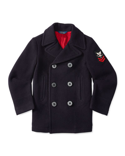 Double-Breasted Naval Peacoat, Blue, Size 2-7