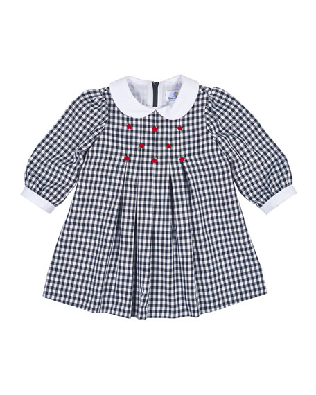 Florence Eiseman Long-Sleeve Collared Gingham Dress, Navy/White