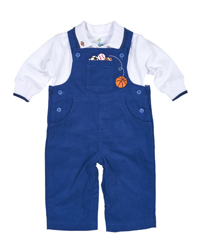 Corduroy Sports Overalls w/ Jersey Polo, Blue, Size 6-24 Months