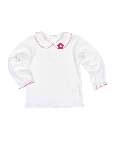 Long-Sleeve Collared Jersey Blouse, White/Fuchsia, Size 2-3