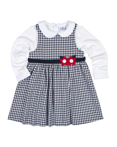 Belted Gingham Jumper w/ Long-Sleeve Blouse, Navy, Size 4-6
