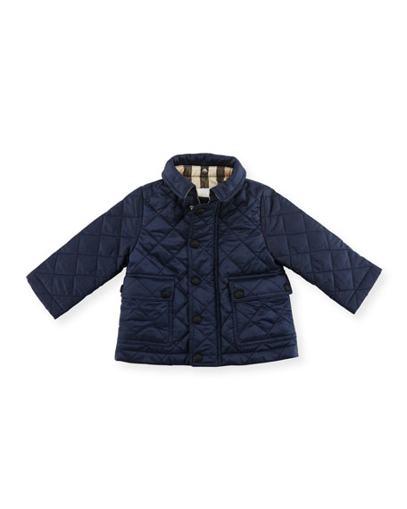 Jamie Quilted Hooded Jacket, Ink Blue, Size 6M-3