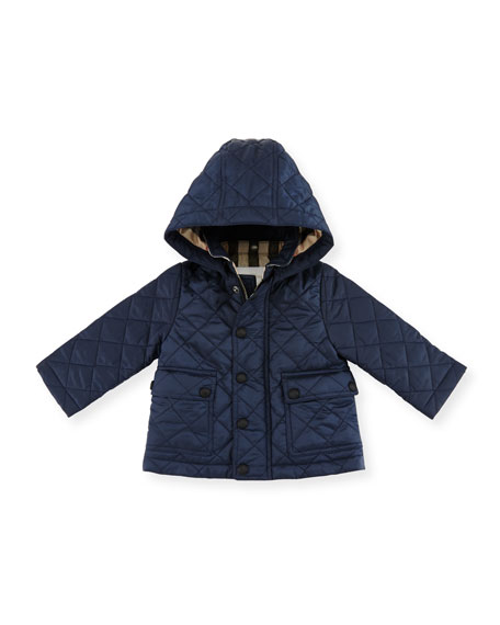 Burberry Jamie Quilted Hooded Jacket, Ink Blue, Size