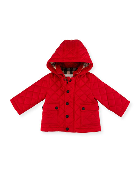 Burberry Jamie Quilted Hooded Jacket, Red, Size 6M-3