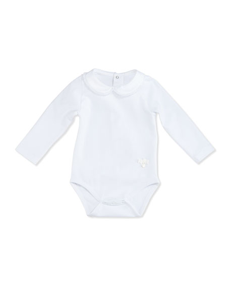 Patachou Long-Sleeve Collared Jersey Playsuit, White, Size 1-18