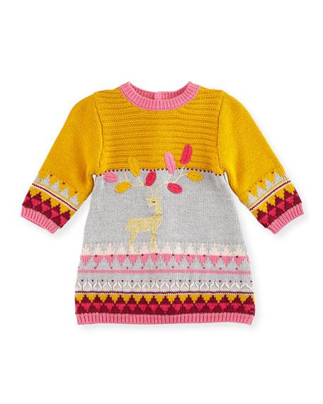 CatiminiMixed-Knit Deer Sweaterdress, Gray/Multicolor, Size 6M-3