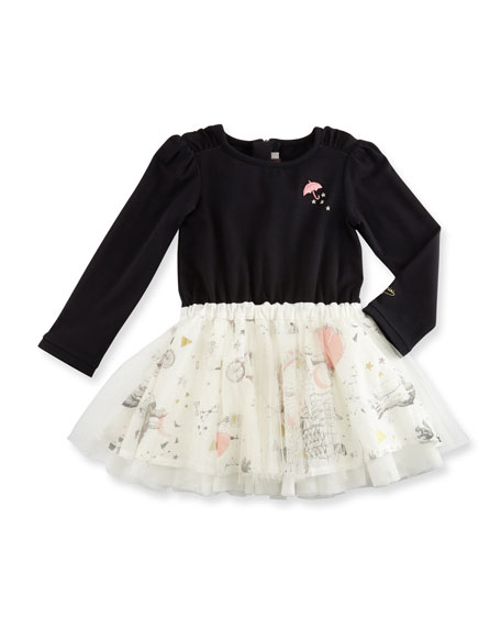 Catimini Long-Sleeve Mixed-Media Dress, Black, Size 12M-3