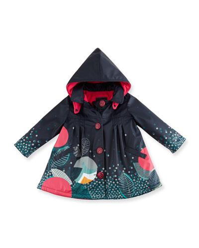 Pleated Printed Raincoat w/ Fleece Lining, Blue, Size 12M-3