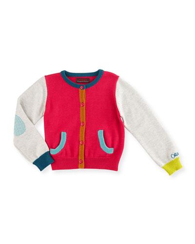 Cotton-Blend Colorblock Cardigan, Fuchsia, Size 12M-3