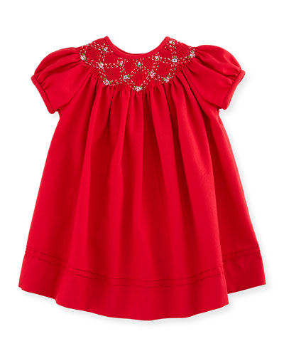 Smocked Twill Bishop Dress, Red, Size 3-24 Months